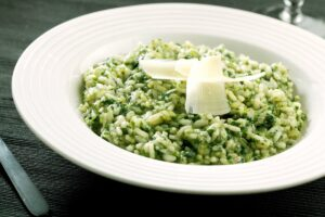 Spinach risotto with flora spreads